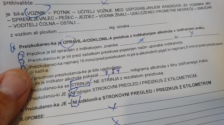 Policijski zapisnik alkohol | Avtor: Andrej Leban