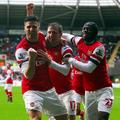 Giroud Monreal Gervinho Swansea City Arsenal Premier League Anglija liga prvenst