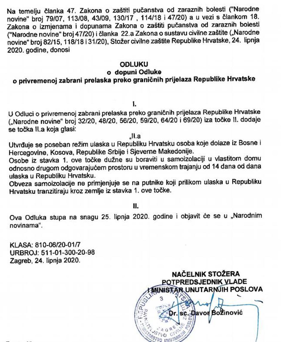 Odlok o uvedbi karantene za Bosno   Avtor: slika zaslona