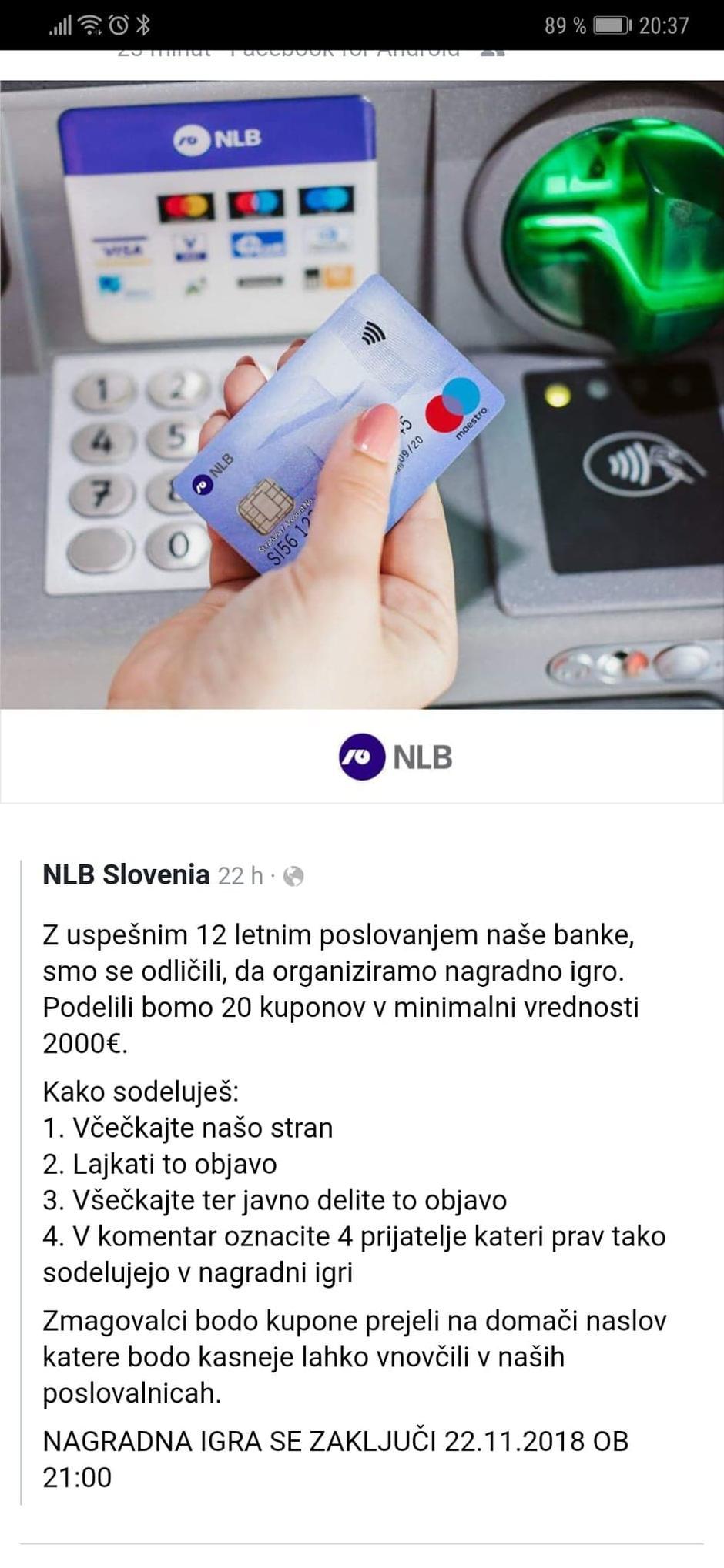 Fejk cena NLB Author: Facebook