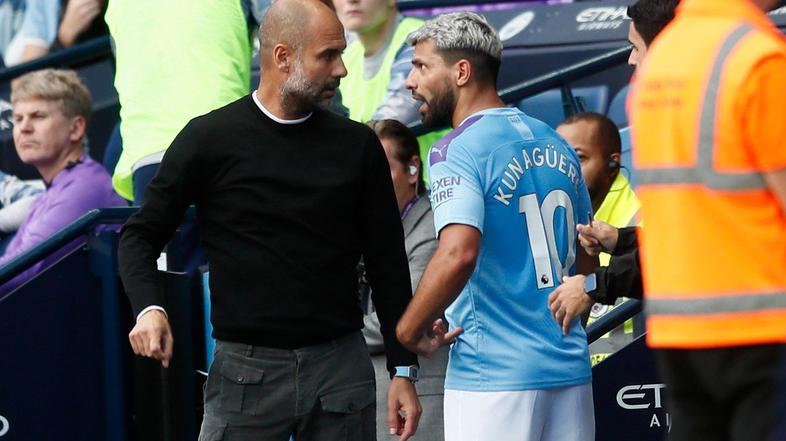 Pep Guardiola in Sergio Agüero